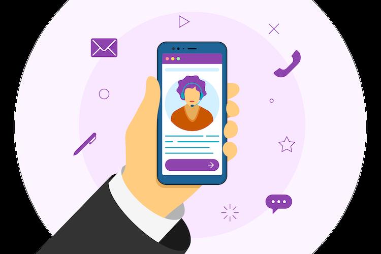 hand holding phone, virtual calling, virtual phone number